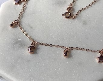 Moon & Stars Necklace - Rose Gold