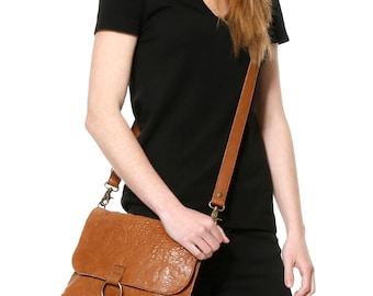 Brown leather messenger bag, leather crossbody bag, convertible bag,camel purse,leather clutch,leather pochette,saddle bag,shoulder bag