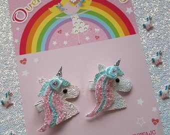 Unicorn Clip, hair clip, unicorns