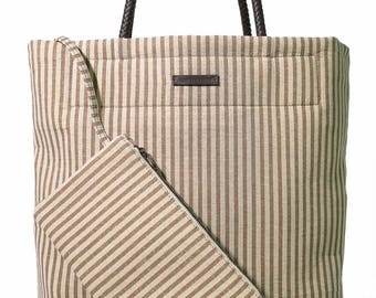 Khaki Stripes on Beige One-of-a-Kind Shopper; Italian Linen; Limited Edition