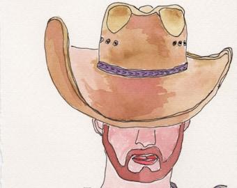 Cowboy Hat Face. Fine Art, Watercolor Painting, Gift Art, Small Art, Watercolor, Painting
