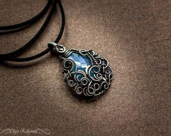 Silver necklace Wire wrapped pendant Gothic necklace Blue chalcedony pendant Wire wrap jewelry gift for her OOAK