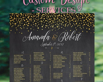 Wedding Seating Chart, Wedding seating chart alphabetical, Wedding Seating Chart Template, Navy Gold Dots Confetti - US_WC0203b