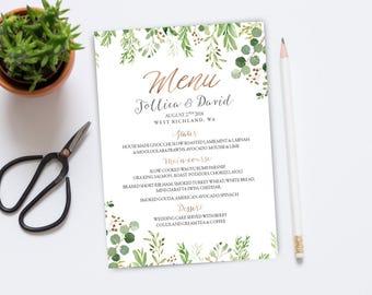 Greenery Wedding Menu, Wedding Menu, Printable Wedding Menu, Wedding Menu Cards, Greenery Wedding, Wedding Menu Template, Greenery menu