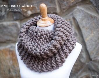 DIY knitting cowl kit / Outlander inspired cowl knit kit / chunky wool cowl knitting kit /kit includes: yarn--printed pattern--needles