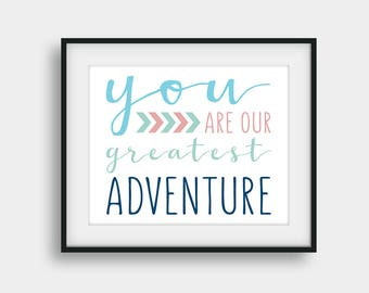 50% OFF You Are Our Greatest Adventure, Kids Room Decor, Nursery Print, Boys Room Decor, Baby Shower Gift, Navy Coral Mint Blue Wall Art