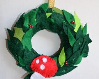 mushroom wreath, mini Christmas wreath, Christmas wreath, winter wonderland
