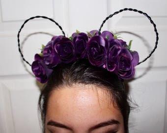 Purple Rose Halloween Mickey Ears