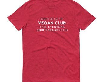 Vegan Club - Short-Sleeve T-Shirt - Vegetarian, Funny, Joke, Fight Club, Typography, Text, Funny, Gift Idea