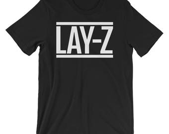 Lay Z - Short-Sleeve Unisex T-Shirt -  Funny Shirts, Lazy, Nap, Sleeping, Tired, Hipster, Spoof, Jay-Z