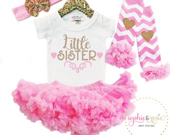 Little Sister Shirt, Little Sister Outfit, Baby Girl Outfit, New Baby Outfit, Take Home Outfit, Pink Tutu, Pink and Gold