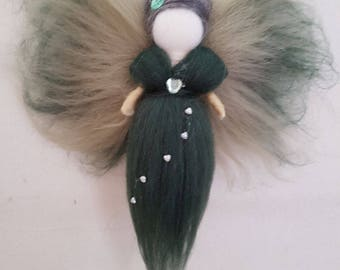 Green Fairy Wall Hanging Waldorf inspired needle felted