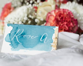 Watercolor Wash Custom Calligraphy Place Cards // Wedding Place Cards, Calligraphy Place Cards with Watercolor Wash, Wedding Place Cards