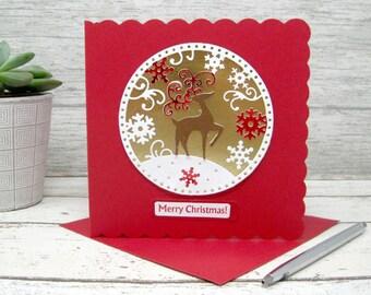 Reindeer Snowglobe, Reindeer Cards, Snowglobe Card, Christmas Card, Christmas Cards, Holiday Cards