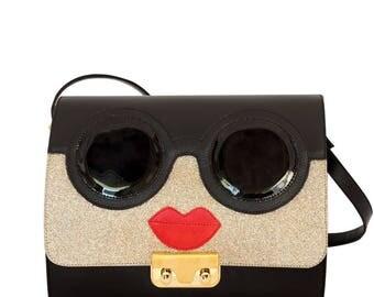Black leather Minibag Shoulder bag with flap Glitter goggles-black leather women's handbag-hand made leather handbag-coral