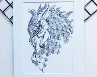 Dragon Art Print, Dragon Illustration, Fantasy Art, Mythological Art, Dragon Face Drawing, Mother of Dragons, Fantasy Decor, Zentangle Art