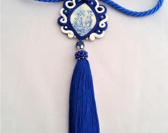 soutache necklace deep blue, soutache jewelry, soutache necklace, soutache pendant, soutache jewels, soutache embroidery, handmade necklace