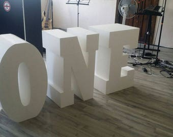 ONE letters Set of 3 Giant styrofoam letter Table base letters 3D Baby shower letters One freestanding letters 30 inches tall 16 inches deep