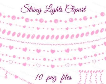 Sale 30% String lights clip art, string lights clipart, fairy lights, glowing lights, firefly clipart, wedding string lights