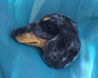 Silver Dapple Dachshund Needle Felted Wool Brooch - Sausage Dog - Felt - Jewellery - Gift - 5 Pounds From This Sale To Dachshund Rescue