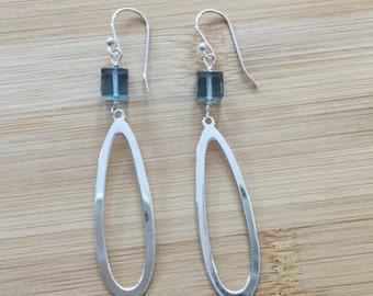 Blue Fluorite Sterling Silver Earrings, Long Earrings, Gemstone Earrings, Fluorite Earrings