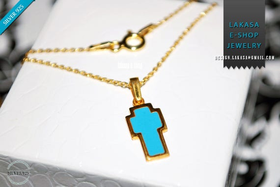 Cross Blue Enamel Chain Necklace Sterling Silver Jewelry Baptism Newborn Kids Boy Gril HappyShowerDay Mother Unisex Religious Best Price