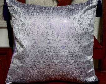 Series Damascus B: Cushion cover 40x40cm (16 x 16 inches) Brocade silk and dupion silk purple and purple PomPoms.