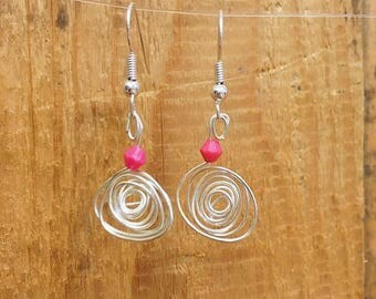 Spiral Earrings, Silver Plated Wirework