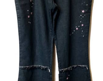Retro Embroidered Flared Jeans