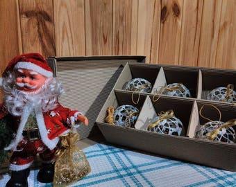 "Set of Christmas Balls ""Snowballs"", Christmas Decor, Handmade Idea."