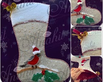 Birds of Winter Collection: Bullfinch - Christmas Stocking