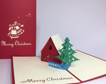 Red House & Christmas Tree - Merry Christmas 3D Handmade Greeting Card - Red Christmas Card - Pop Up Christmas House Decoration Card