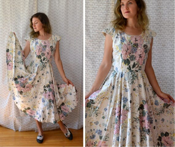 Fields of Forever Dress | vintage 50's white floral party dress
