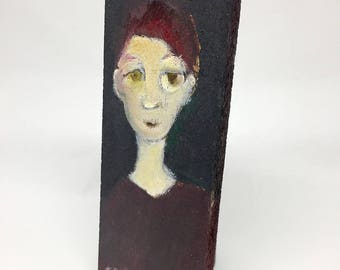Small painting on wood, decorative gift - Portrait on a green background