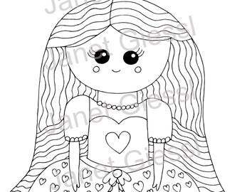 Cute Princess Single Coloring Page