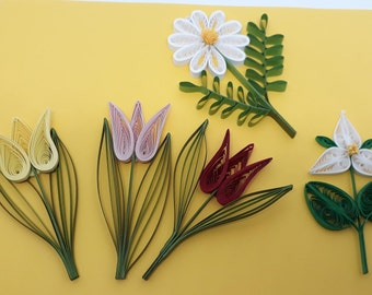 Quilled Spring Flower Ornaments. Daisy, Trillium or Tulip in 3 colors. Choose your favorite to brighten your car or home.