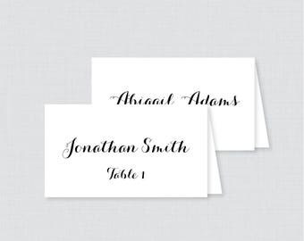Printed Wedding Place Cards - Black and White Wedding Table Place Cards, Elegant Calligraphy Place Cards for Wedding 0005