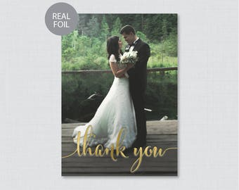 REAL GOLD FOIL Wedding Thank You Cards - Gold Foil Pressed Photo Thank You Cards for Wedding - Personalized Foil Stamped Thank You Card 0002