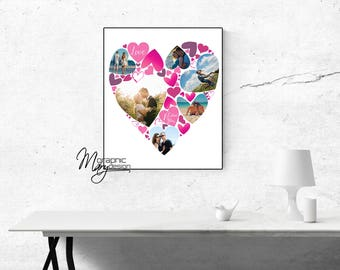 Personalized Valentine's Day gift Idea, Love poster, Valentine's Day poster, Collage photo poster, Valentine's Day for you, digital FILE