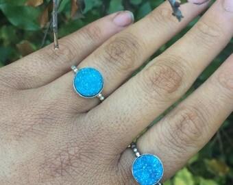 Aqua Aura Quartz Ring / Sterling Silver Ring / Crystal Geode Ring / Crystal Druzy Quartz Ring / Aura Quartz Cluster Ring / Blue Crystal Ring