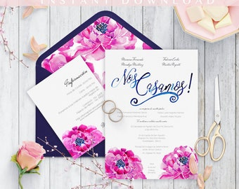 Invitaciones de Boda, Spanish wedding invitation, Instant Download, Diseño Floral, Nuestra Boda, Imprime en casa, PDF, Edit at home