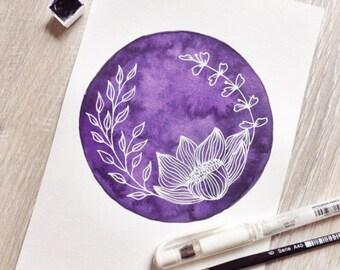 Original handmade watercolor painting watercolors aquarel design purple flower linedrawing ink illustration watercolour
