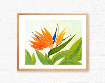 Bird of Paradise,Printable floral art,botanical download,printable wall art print,instant digital download,still life wall art,orange green