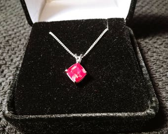 Ruby Gemstone Solid Sterling Silver Necklace