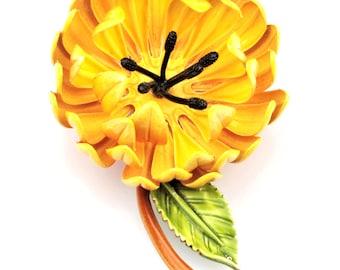 Vintage Orange/Yellow Flower Enamel/Metal Pin/Brooch