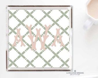 Bamboo Lucite Tray/Monogrammed Acrylic Tray/Lucite catch all/6x6-12x12/Desk Tray/Christmas or Holiday gift/Wedding gift/Housewarming gift
