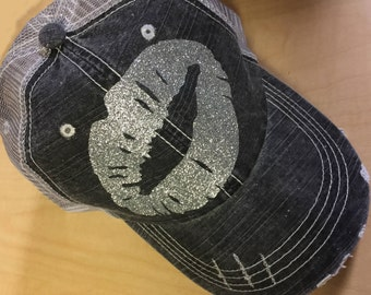 Kiss Lips -Distressed Trucker Hat-Silver Glitter-new 2017