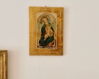 Vintage Religious Picture, Madonna and child, Small Gold Picture, 1900s Religious Decor, baby Jesus, Halo, Renaissance