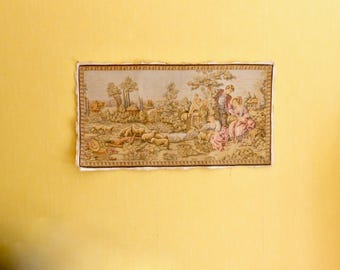 Tapestry Wall Hanging, Cherubs, Tapestry Long, Romantic Wall Art, Period Garden Scene, Vintage French Tapestry