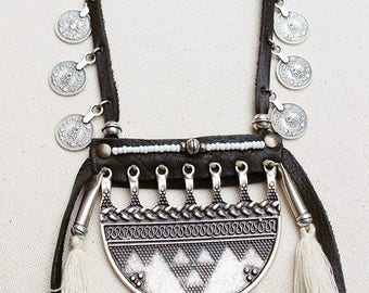 Boho Gypsy Soul Bohemian Coachella style DESERT FOLK necklace metal pendant, turquoise leather